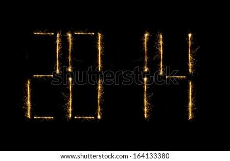 New editable shiny modern 2014  time clock - stock photo