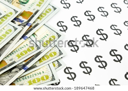 new edition dollar banknotes and dollar sign, currency and money for business concept - stock photo