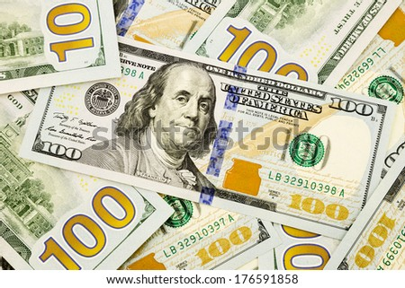 New edition US dollar banknotes. - stock photo