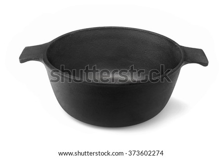 New Empty And Clean Classic Cast Iron Dutch Oven Or Pot Isolated On White Background, Close Up, Top View, Horizontal Image, Studio Shot