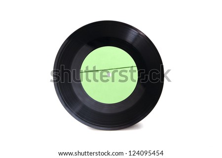 New empty green with stripe gramophone vinyl record isolated on white background