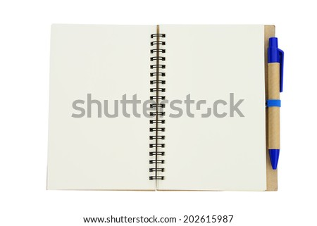 New empty note book with blue pen on isolated white background