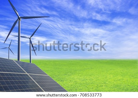 New energy, wind turbines and solar panels on the grasslands