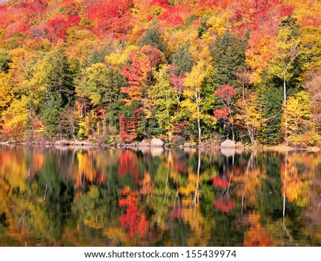 New England Autumn Trees Reflection - stock photo