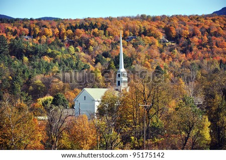 New England Fall Foliage in Stowe, Vermont, USA - stock photo