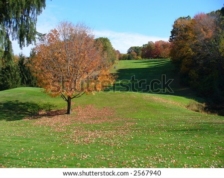 New England Golf Course in Autumn - stock photo