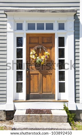 New England home entrance - stock photo