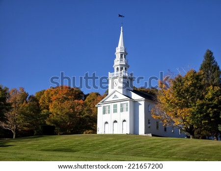New England white church in the autumn - stock photo