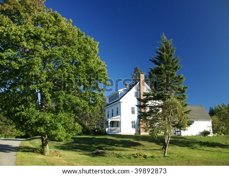 New England white house with porch,  Manset, Mount Desert Island, Acadia National park, Maine, New England