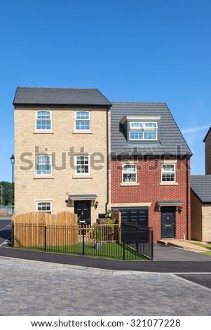 New english houses - stock photo