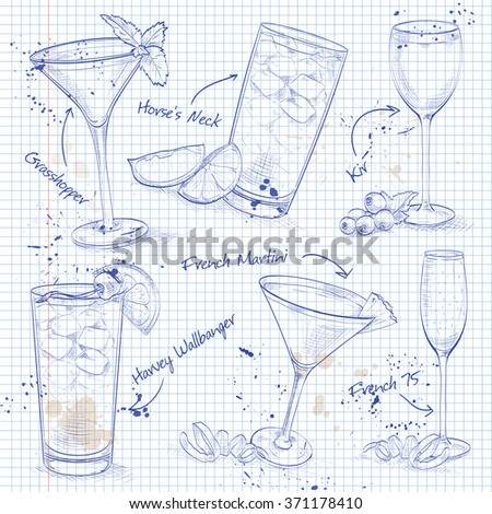 New Era Coctail Set  on a notebook page  - stock photo