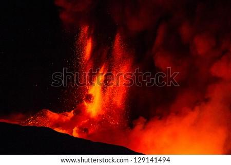 New eruption of Etna-2013 - stock photo