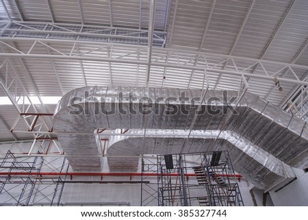 New factory industrial air conditioning system and steel truss s - stock photo