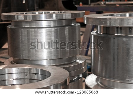 New flanges in the workshop of the plant - stock photo