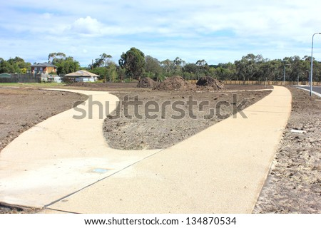 New footpath/walkway construction in new real estate subdivision in suburban australia
