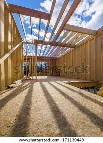 New framing construction of a  house - stock photo