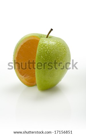 New Fruit - Introducing an Orange Apple with moisture on the surface of the skin - stock photo