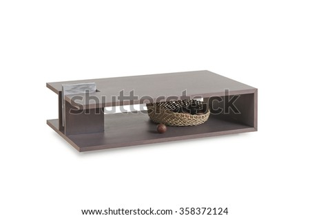 NEW FURNITURE LINE . MODERN DESIGN . STRAIGHT LINES . MATERIALS : WOOD . ITEMS :  TABLE - stock photo