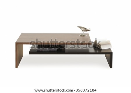 NEW FURNITURE LINE . MODERN DESIGN . STRAIGHT LINES . MATERIALS : WOOD . ITEMS : TWO PIECE TABLE - stock photo