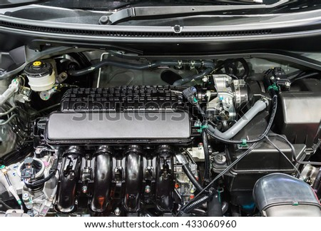 New gasoline engine of the new sedan car.