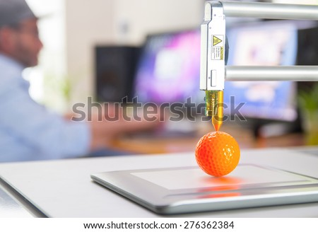 New generation of 3D Printing Machine printing a piece of plastic. For use in small spaces, Office or Private use - stock photo