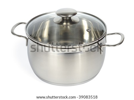 New glossy pan isolated with clipping path over white background - stock photo
