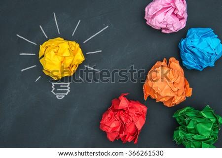 New good ideas, colorful Paper Ball on Blackboard and lightbulb  shape - stock photo