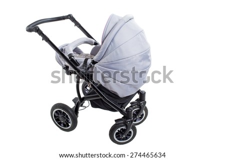New gray modern pram. Side view. Isolated on a white background. - stock photo