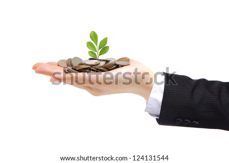 new green plant sprouting from a hand with money - concept for business, innovation, growth and money. isolated on white
