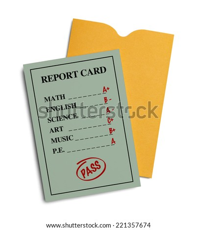 New Green Report Card With Yellow Envelope Isolated on White Background. - stock photo