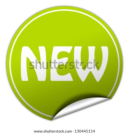 new - green sticker - stock photo