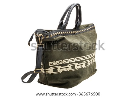 New green womens bag isolated on white background. - stock photo
