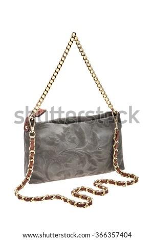 New grey womens bag isolated on white background. - stock photo
