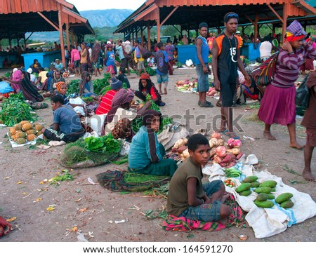 NEW GUINEA, INDONESIA-DEC 28: Green vegetable displayed for sale at a local market in Wamena,on New Guinea Island, Indonesia on December 28, 2010.