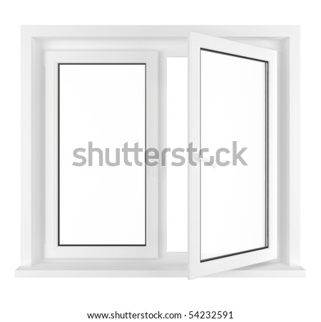New half opened window frame isolated on white background. 3d render. - stock photo