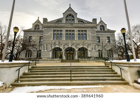 New Hampshire Legislative Office Building, Concord, New Hampshire, USA. Legislative Office Building, built in 1884 with Victorian style, was formerly post office of Concord. - stock photo