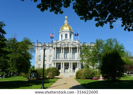 New Hampshire State House, Concord, New Hampshire, USA. New Hampshire State House is the nation's oldest state house, built in 1816 - 1819. - stock photo