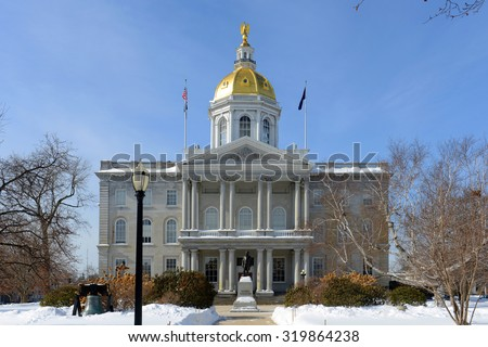New Hampshire State House in winter, Concord, New Hampshire, USA. New Hampshire State House is the nation's oldest state house, built in 1816 - 1819. - stock photo