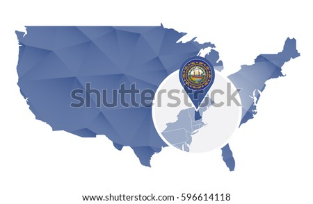 Usa Map Magnified New Hampshire State Stock Vector - New hampshire on us map