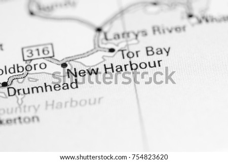 New Harbour. Canada on a map.