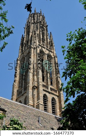 NEW HAVEN, CONNECTICUT:   The elegant neo-gothic Harkness Tower at Branford Collge / Yale University - stock photo