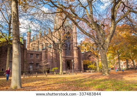 NEW HAVEN, CT - NOVEMBER 8, 2015:  View of  Dwight Hall at historic Yale University on an autumn day.  - stock photo
