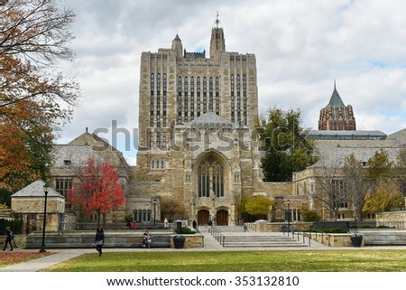 NEW HAVEN, USA - NOV 13, 2015: View of the Sterling Memorial Library at Yale University. Founded in 1701 the ivy league college has a current enrollment of over 12,000 students.. - stock photo