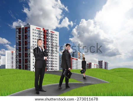 New high-rise buildings and people at the park