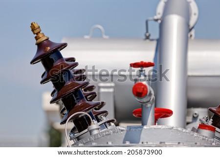 New high voltage transformer - stock photo