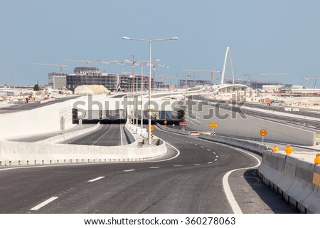 New highway construction in Doha, region of Lusail. Qatar, Middle East