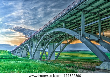 New highway viaduct in Slovakia. Hdr image. - stock photo