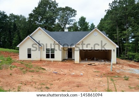 New home being constructed at Georgia, USA. - stock photo