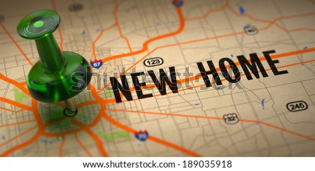 New Home Concept - Green Pushpin on a Map Background with Selective Focus. - stock photo