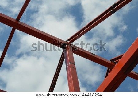 New home construction, trussles on top of house - stock photo